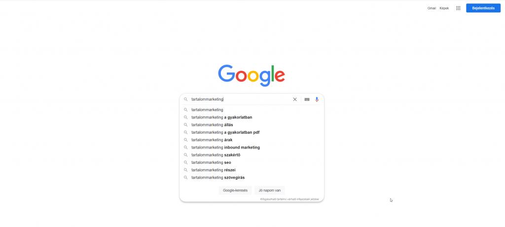 Képernyőkép a Google találatokról a tartalommarketing kifejezésre keresve