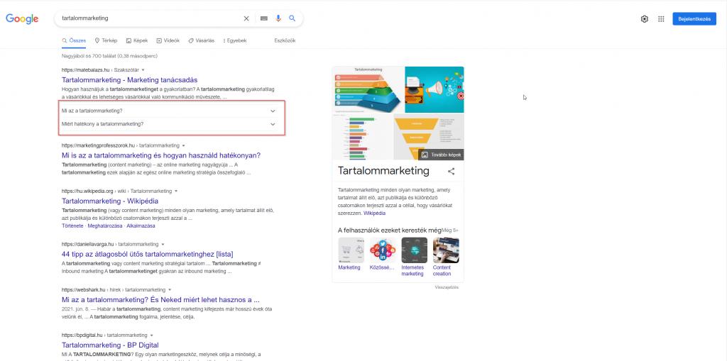 Képernyőkép a Google találatokról a tartalommarketing kifejezésre, melyekre az egyes weboldalak optimalizálnak.